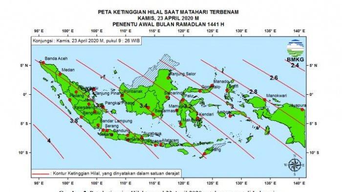 Peta ketinggian saat Matahari terbenam pada Kamis, 23 April 2020 penentu awal bulan Ramadhan 1441 H.