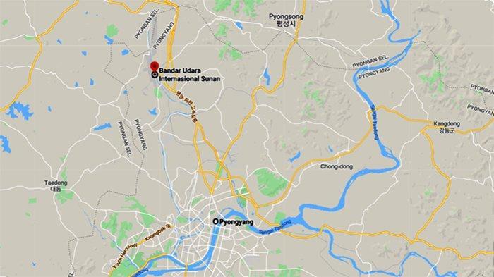 Peta Google, antara Pyongyang dan Bandara Internasional Sunan, akan dibangun fasilitas peluncuran peluru kendali Korea Utara.