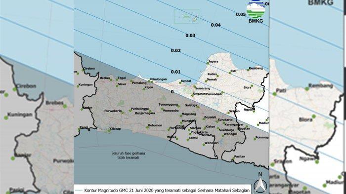 Peta Magnitudo Gerhana Matahari Cincin 21 Juni 2020 di Jawa Tengah