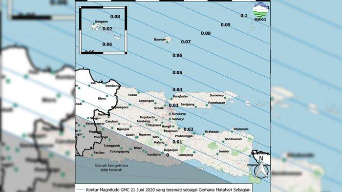 Peta Magnitudo Gerhana Matahari Cincin 21 Juni 2020 di Jawa Timur