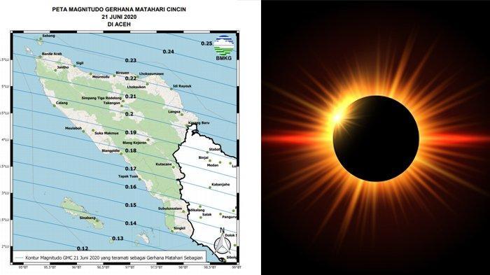 Peta Magnitudo Gerhana Matahari Cincin 21 Juni 2020 di Provinsi Aceh.