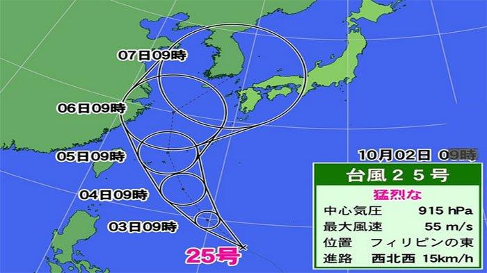 Peta perkiraan angin taifun No.25 memasuki Jepang tanggal 7 Oktober 2018.