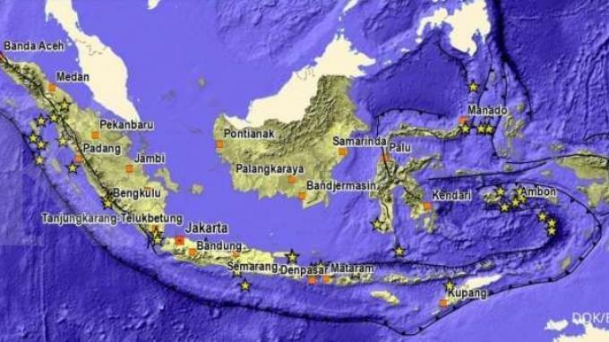 Peta sejarah tsunami di Indonesia 1800-1899.