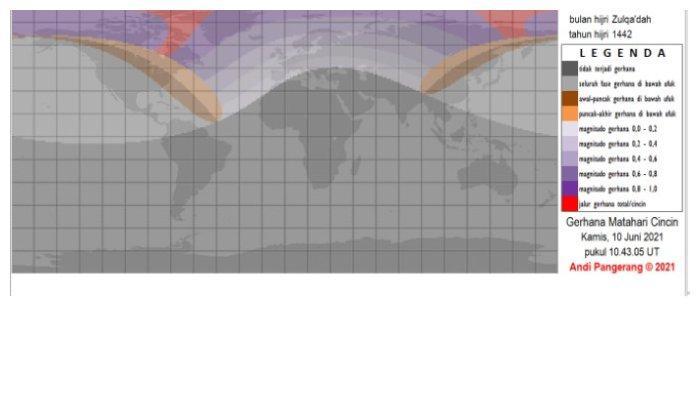 Peta Viibilitas Gerhana Matahari 10 Juni 2021