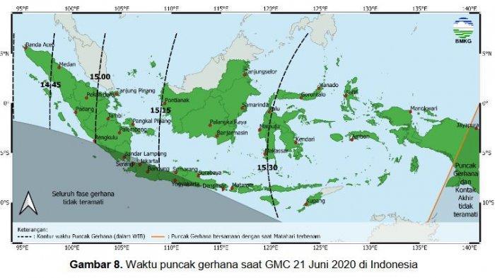 Peta Waktu puncak gerhana saat GMC 21 Juni 2020 di Indonesia