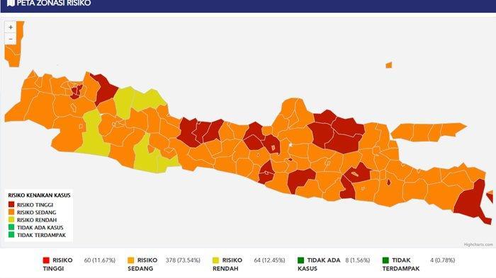 Peta Zona Risiko Tinggi Penyebaran Covid-19 di Pulau Jawa, Terbanyak di Jateng Ada 12 Wilayah