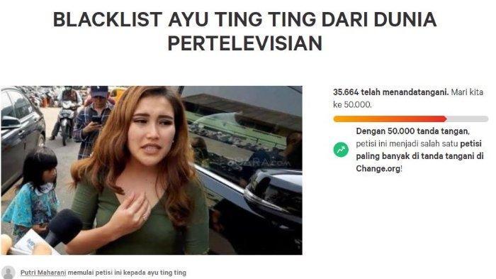 Petisi Blacklist Ayu Ting Ting dari Dunia Pertelevisian Sudah Ditandatangani 35 Ribu Orang