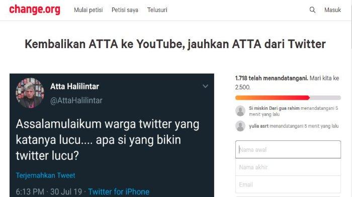 Sempat terjadi pemblokiran massal Atta Halilintar, kini muncul petisi 'Kembalikan Atta ke YouTube' menjadi trending topik di media sosial Twitter.