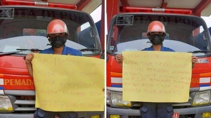 Petugas Damkar Kota Depok, Sandi, yang viral di sosial media.
