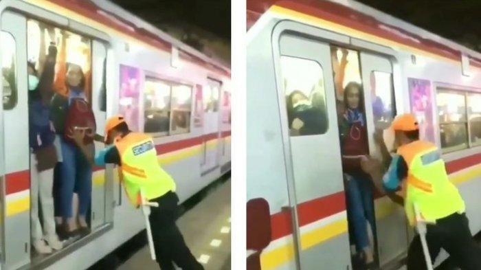 Viral, Petugas Keamanan Dorong Penumpang KRL agar Pintu Bisa Ditutup