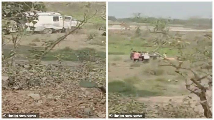 Petugas kesehatan di India terekam video saat membuang mayat di Sungai Gangga