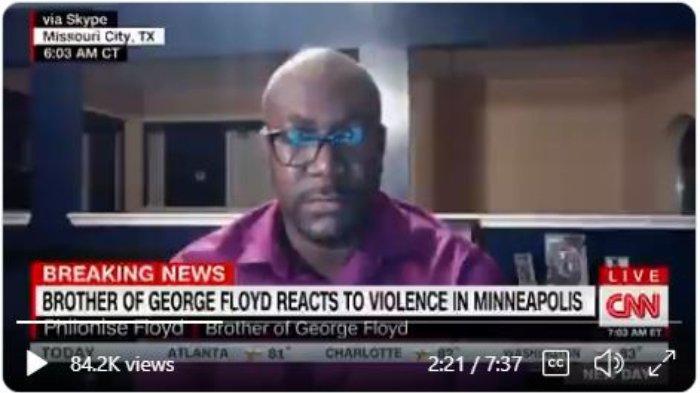 Philonese Floyd, adik George Floyd, pria Afika-Amerika berumur 46 tahun yang tewas karena lehernya diinjak seorang petugas polisi di Minneapolis, Minnesota, Amerika Serikat, Senin (25/5/2020).