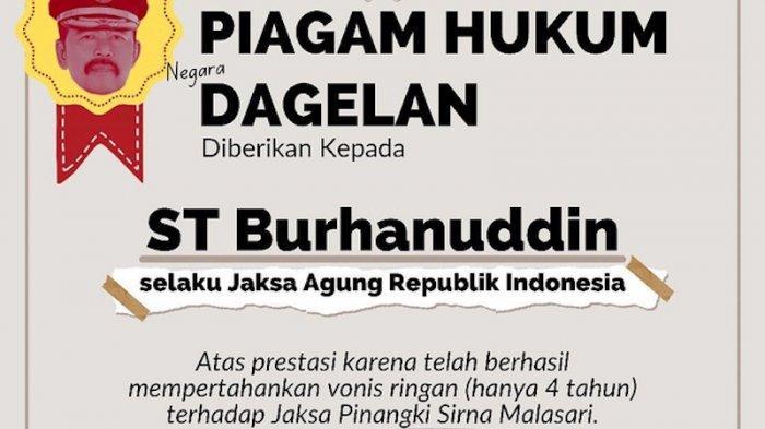 Pinangki Divonis Ringan, ICW Berikan Gelar Piagam Hukum Negara Dagelan kepada Jaksa Agung