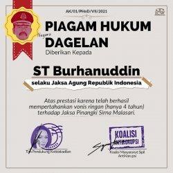 Piagam Hukum Negara Dagelan kepada Jaksa Agung ST Burhanudin