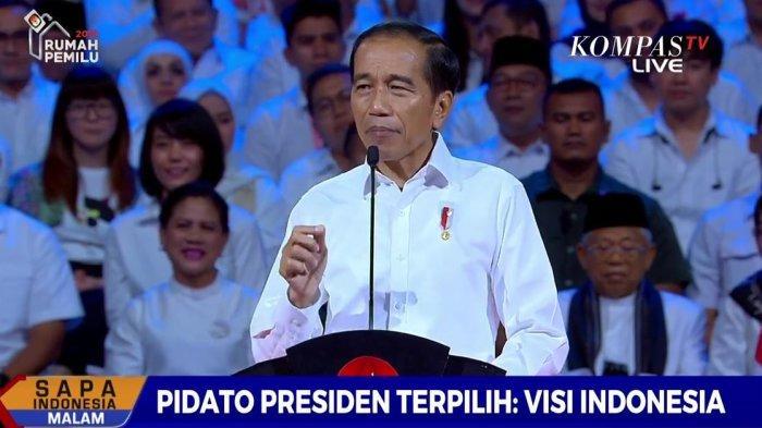 Joko Widodo (Jokowi) melakukan pidato sebagai presiden terpilih di Sentul International Convention Center (SICC), Bogor, Jawa Barat, Minggu (14/7/2019) malam ini.