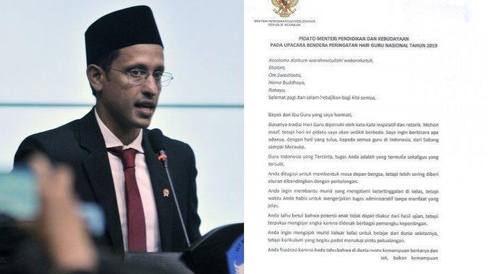 Viralnya pidato Mendikbud, Nadiem Makarim saat peringati Hari Guru Nasional 2019