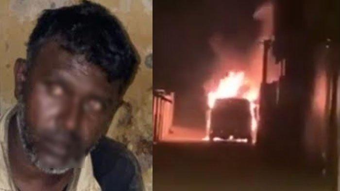 Pije, pria 41 tahun asal Medan (kiri), tersangka pembakar Toyota Alphard Via Vallen di Tanggulangin Kabupaten Sidoarjo (kanan).