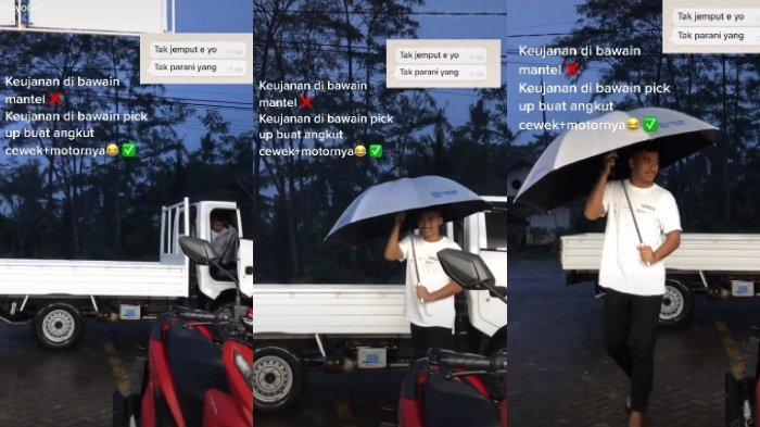 Sedang Berteduh, Cewek Ini Tak Sangka Dijemput Pacar Pakai Mobil Pick Up: Tak Boleh Pulang Sendirian