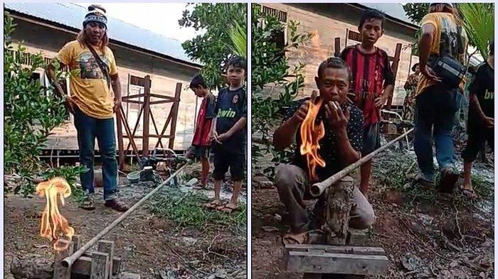 Pipa dari tiga sumur bor di RT 01 dan 02 Sungai Sangkai Desa Bedandan, Kecamatan Cerbon, Kabupaten Batola keluar api, Minggu (1/12/2019).