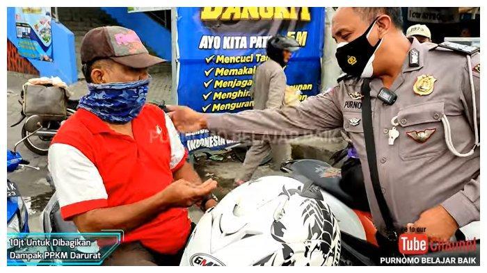 VIRAL Polisi Bagikan Bantuan Kepada Pedagang Asongan Hingga Tukang Becak, Total Rp 10 Juta