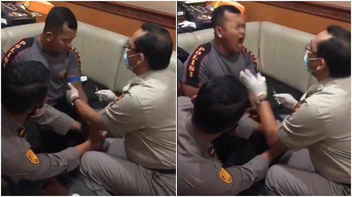 Viral Video Polisi Ketakutan Saat Disuntik: Diledek Netizen 'Badan Kekar Takut Jarum', Ini Responnya
