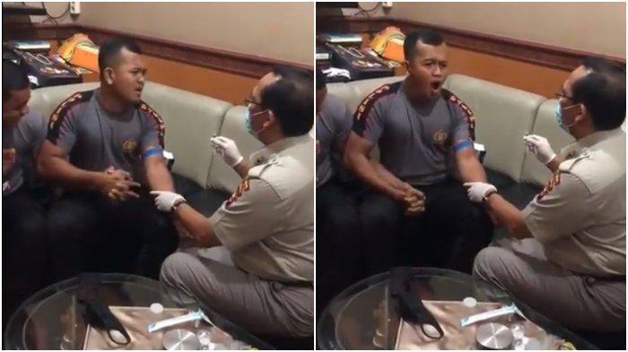 Sebuah video seorang polisi yang ketakutan saat disuntik, beredar di jagat maya.