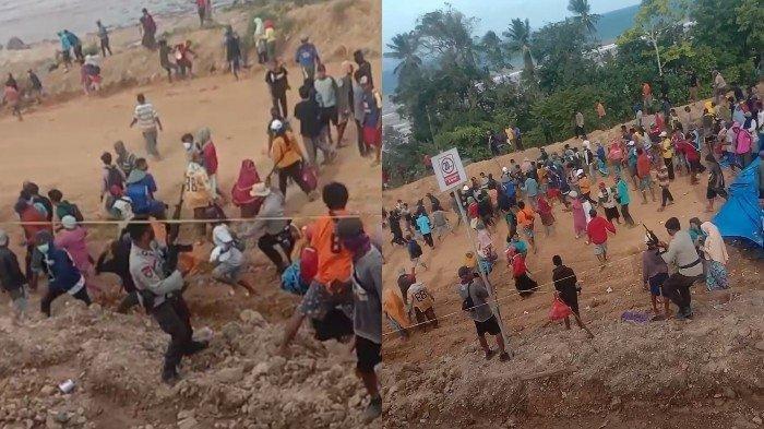 Polisi membubarkan massa pendemo dengan tembakan senjata api ke udara di Desa Sangi-sangi, Kecamatan Laonti, Kabupaten Konawe Selatan (Konsel), Sabtu (18/9/2021).