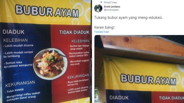 Kisah di Balik Viral Poster Bubur Ayam, Penjual Dibuatkan Poster oleh Anaknya dan Ditemani Jualan