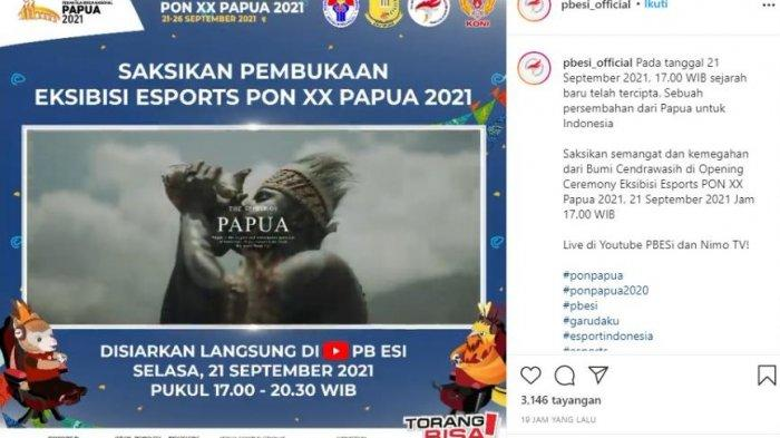 Jadwal pembukaan Esports PON XX Papua 2021 hari ini, Selasa (21/9/2021)