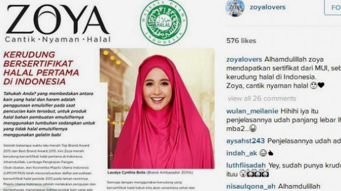 Zoya Minta Maaf Soal Bahan Baku Jilbab Bersertifikasi Halal