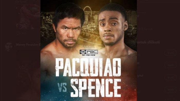 Poster pengumuman duel antara Manny Pacquiao dan Errol Spence Jr pada 21 Agustus 2021.