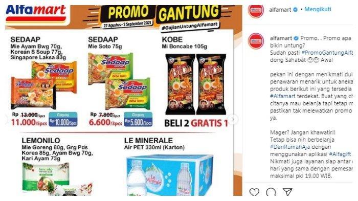 Postingan akun Instagram @alfamart tentang Promo Gantung Alfamart.