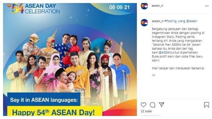 Postingan akun Instagram @asean_ri tentang peringatan HUT ASEAN.