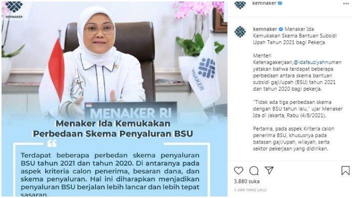 Postingan akun Instagram @kemnaker 4 Agustur 2021-Menteri Ketenagakerjaan (Menaker) Ida Fauziyah.