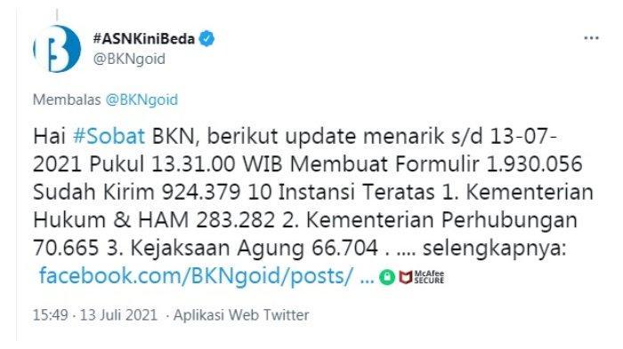 Postingan akun Twitter @BKNgoid 13 Juli 2021.