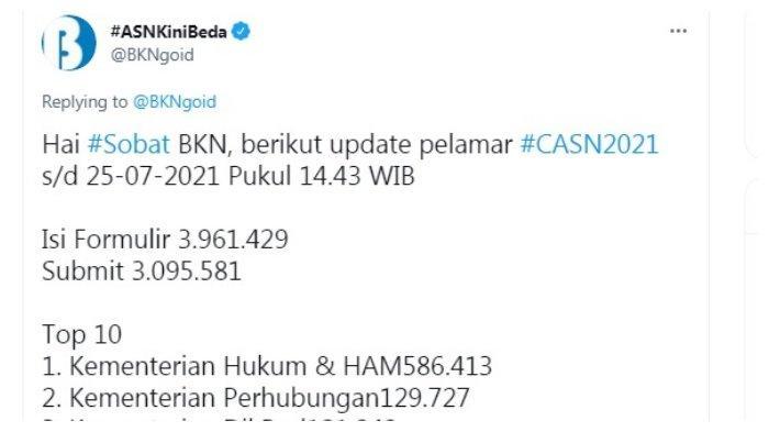 Postingan akun Twitter @BKNgoid 25 Juli 2021.