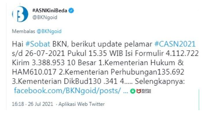 Postingan akun Twitter @BKNgoid 26 Juli 2021.