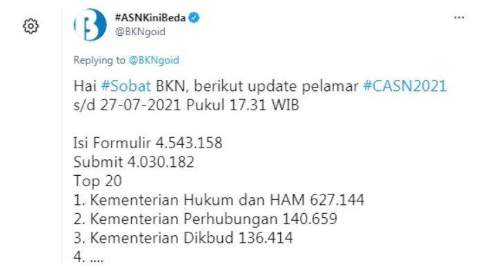 Postingan akun Twitter @BKNgoid 27 Juli 2021.