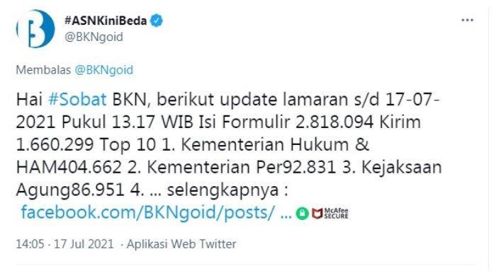 Postingan akun Twitter @BKNgoid.