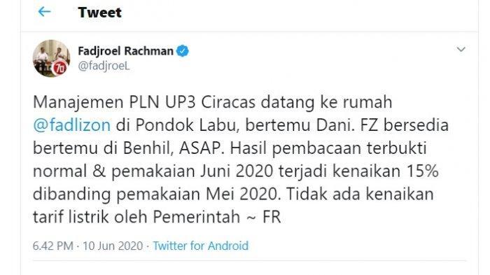Postingan Fadjroel Rahman soal bantahan atas kenaikan <a href='https://kaltim.tribunnews.com/tag/listrik' title='listrik'>listrik</a> <a href='https://kaltim.tribunnews.com/tag/fadli-zon' title='FadliZon'>FadliZon</a>
