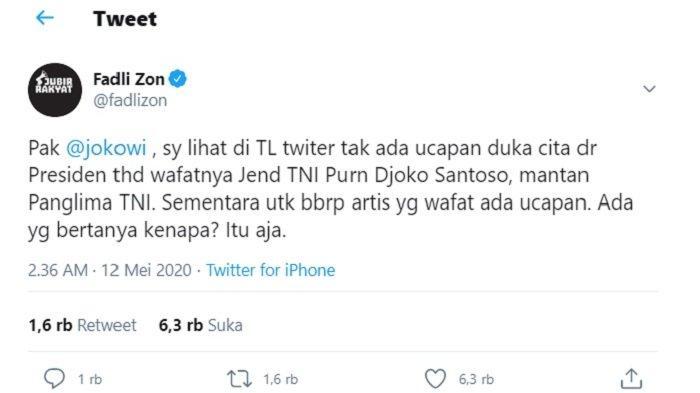 Postingan Fadli Zon mempertanyakan tidak adanya ucapan duka dari Jokowi untuk almarhum Djoko Santoso