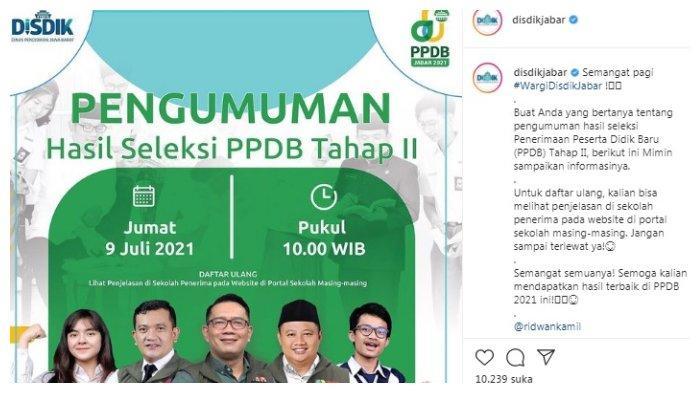 Postingan IG @disdikjabar tentang PPDB Jabar 2021 Tahap2.