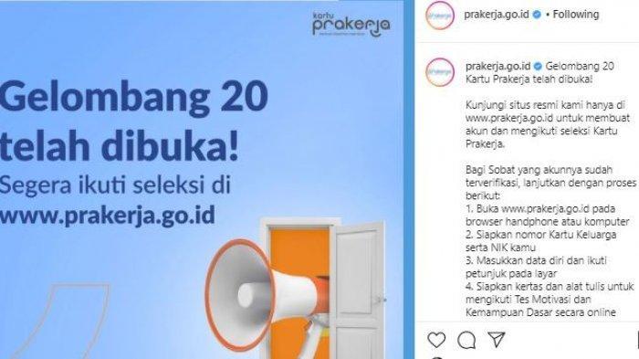 Postingan IG @prakerja.go.id, Kamis (9/9/2021).