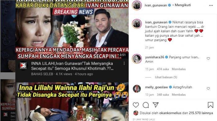 Postingan Ivan Gunawan menanggapi kabar hoaks dirinya meninggal dunia