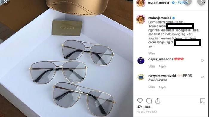 Postingan kacamata mereka Gucci di akun instagram Mulan Jameela.