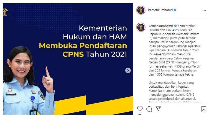 Postingan kaun IG Kemenkumhamri tentang CPNS 2021
