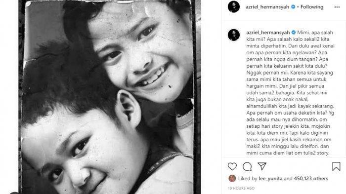 Postingan kekesalan Azriel yang ditujukan ke ibunya, Krisdayanti.