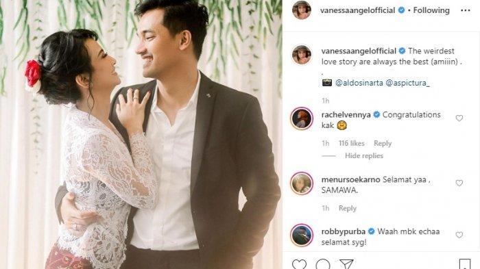 Postingan Vanessa Angel tentang pernikahannya