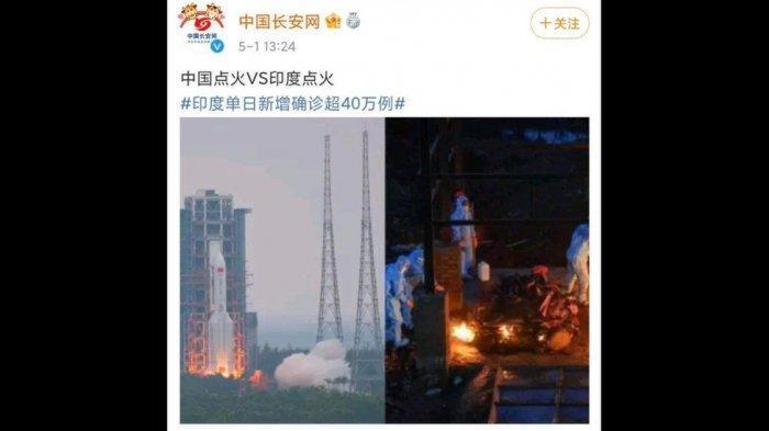 Akun Media Sosial Resmi China Buat Lelucon soal Covid-19 India, Samakan Lonjakan Pasien dengan Roket