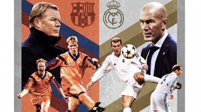 Potret Ronald Koeman dan Zinedine Zidane saat masih aktif bermain dan kini menjadi pelatih.